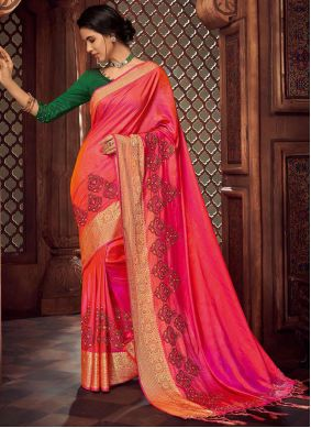 Multi Colour Embroidered Traditional Saree