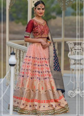 Multi Colour Embroidered Wedding A Line Lehenga Choli