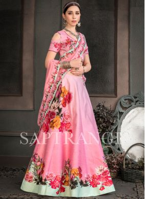 Multi Colour Fancy Fabric Embroidered Lehenga Choli