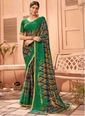 Multi Colour Fancy Fabric Abstract Print Saree