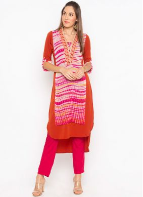 Multi Colour Faux Georgette Party Wear Kurti