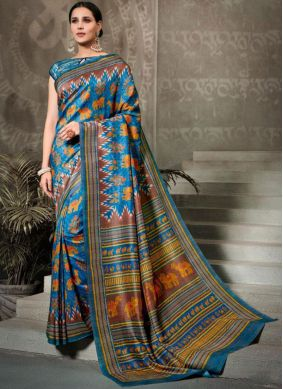 Multi Colour Festival Silk Saree