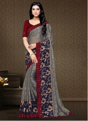 Multi Colour Floral Print Faux Chiffon Classic Saree