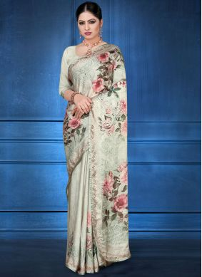Multi Colour Georgette Satin Ceremonial Printed Saree
