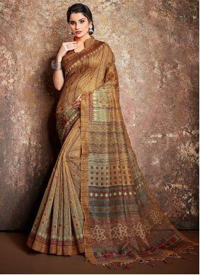 Multi Colour Handloom silk Digital Print Classic Designer Saree