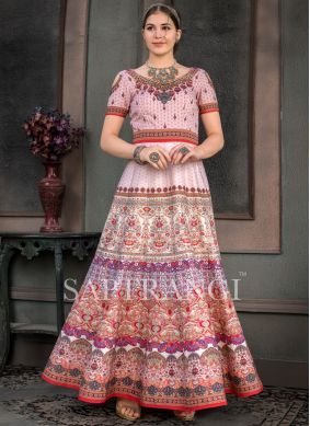 Multi Colour Mehndi Fancy Fabric Designer Gown