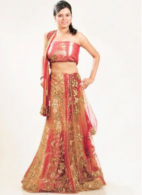 Multi Colour Net Bridal Lehenga Choli