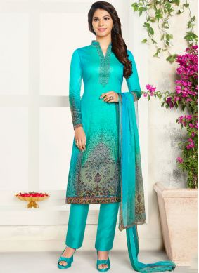 Multi Colour Party Cotton Satin Churidar Designer Suit