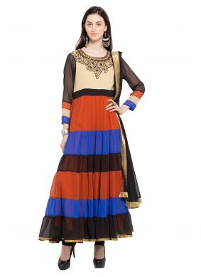Multi Colour Party Faux Georgette Layered Anarkali Salwar Kameez