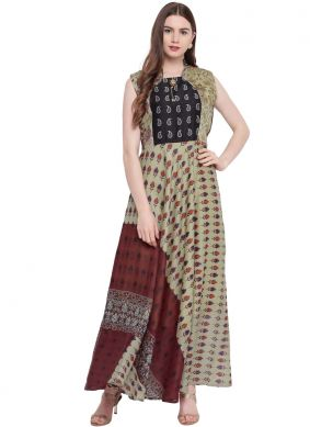 Multi Colour Print Mehndi Trendy Gown