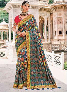Multi Colour Resham Silk Trendy Saree