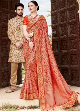 Multi Colour Resham Wedding Traditional Designer Saree