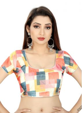 Multi Colour Satin Printed Blouse