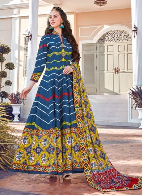 Multi Colour Silk Engagement Readymade Gown