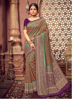 Multi Colour Silk Party Designer Saree
