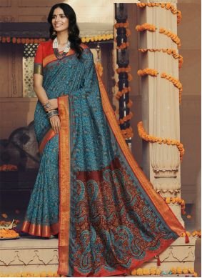 Multi Colour Silk Trendy Saree