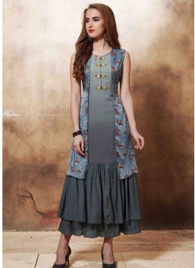 Multi Colour Wedding Muslin Designer Kurti
