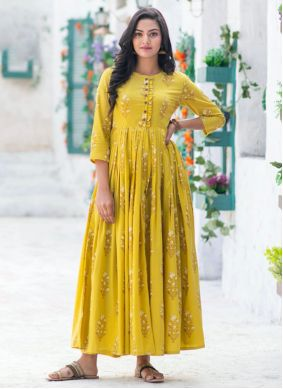 Muslin Digital Print Yellow Readymade Gown