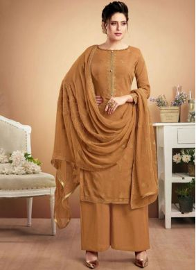 Muslin Embroidered Brown Designer Palazzo Suit