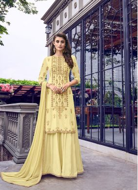Muslin Embroidered Cream Designer Salwar Kameez