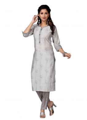 Muslin Embroidered Grey Party Wear Kurti