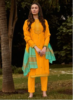Muslin Embroidered Pant Style Suit