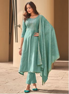 Muslin Embroidered Sea Green Pant Style Suit