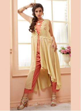 Muslin Multi Colour Embroidered Party Wear Kurti