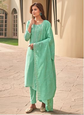 Green Muslin Pant Style Suit