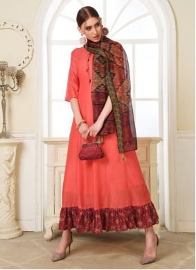 Muslin Peach Embroidered Readymade Gown
