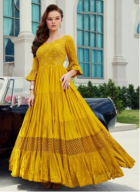 Muslin Yellow Readymade Gown