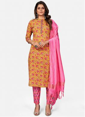 Mustard and Pink Readymade Suit
