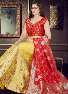 Mustard and Red Art Silk Festival Readymade Lehenga Choli