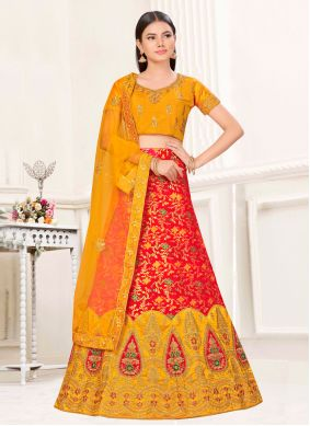 Mustard and Red Satin Silk Lehenga Choli
