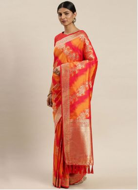Mustard and Red Weaving Poly Silk Designer Traditional Saree