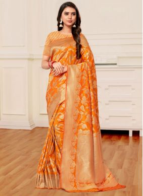 Mustard and Yellow Weaving Half N Half Trendy Saree