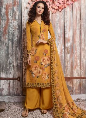 Mustard Casual Faux Crepe Pant Style Suit