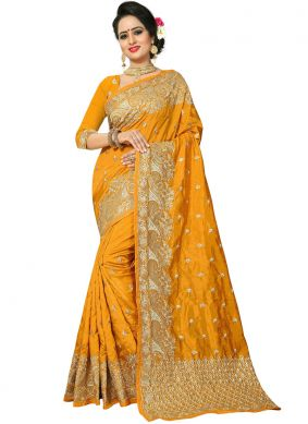 Mustard Ceremonial Art Silk Traditional Designer Saree