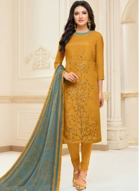 Mustard Chanderi Cotton Festival Churidar Suit
