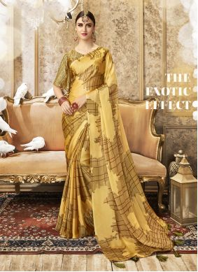 Mustard Color Traditional Designer Saree