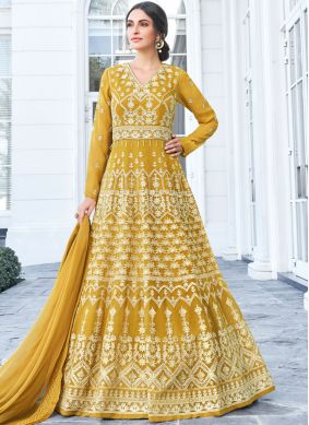 Mustard Embroidered Anarkali Salwar Suit