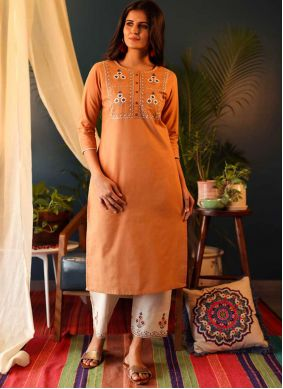 Mustard Embroidered Casual Kurti
