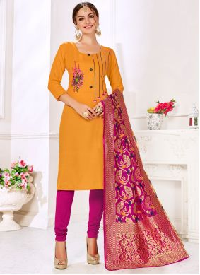 Mustard Embroidered Cotton Salwar Suit