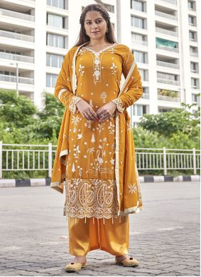 Mustard Embroidered Faux Georgette Designer Palazzo Suit