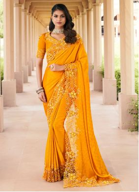 Mustard Embroidered Georgette Traditional Saree