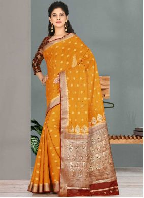 Mustard Embroidered Party Traditional Designer Saree