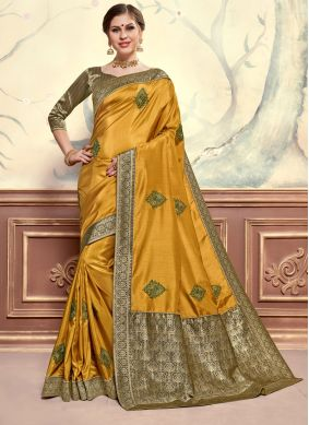 Mustard Embroidered Poly Silk Classic Designer Saree
