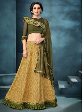 Mustard Embroidered Reception A Line Lehenga Choli