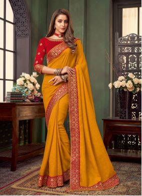 Mustard Embroidered Traditional Saree