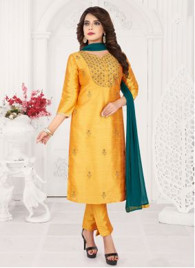 Mustard Embroidered Trendy Salwar Kameez